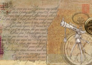 old manuscript, clock and telescope