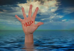 "hand out of the water with the word ""help"""