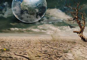 Dry soil, wind, globe