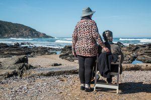 two people sitting on ta beach