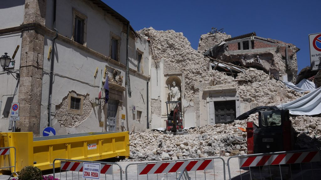 As if a bomb has hit... A scene in Norcia