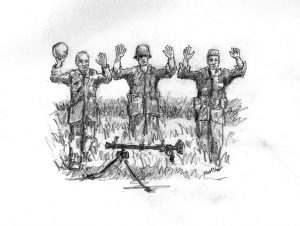3 soldiers with hands up